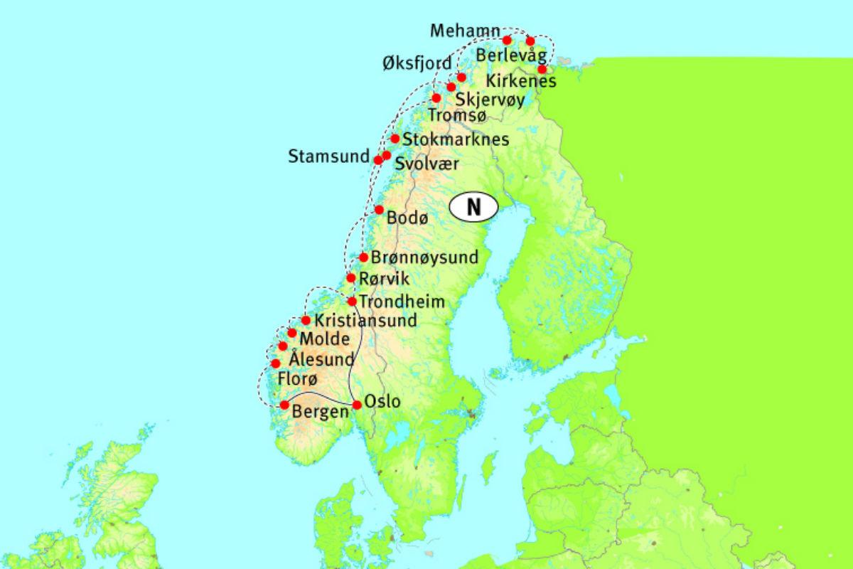 Karte Norwegen Hurtigruten.Hurtigruten Single Special