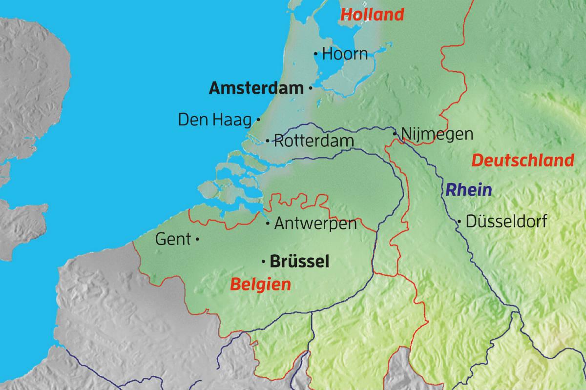 Karte Von Holland Und Belgien.Sommer In Holland Und Belgien
